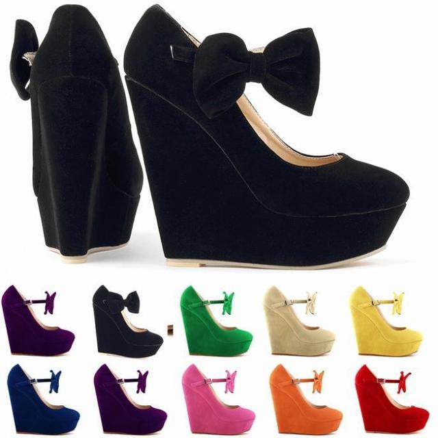 Fashion Ladies Cute High Heels Sexy Wedges Shoe Comfort Platforms Strappy  Butterfly Pump Women Shoes Plus Size Sapatos Femininos d96295ade615