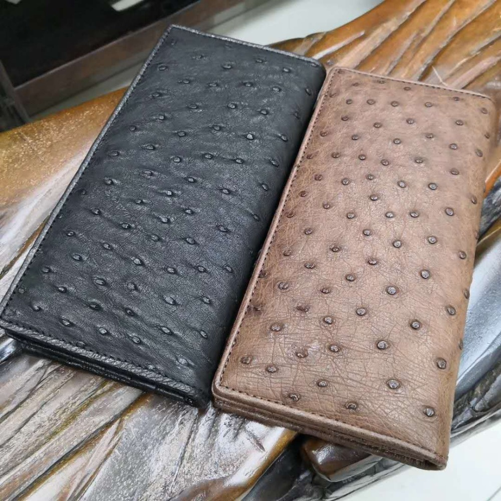 High End Soft 100% Genuine ostrich skin leather long size men wallets and purse bank credit card holder black brown ostrich