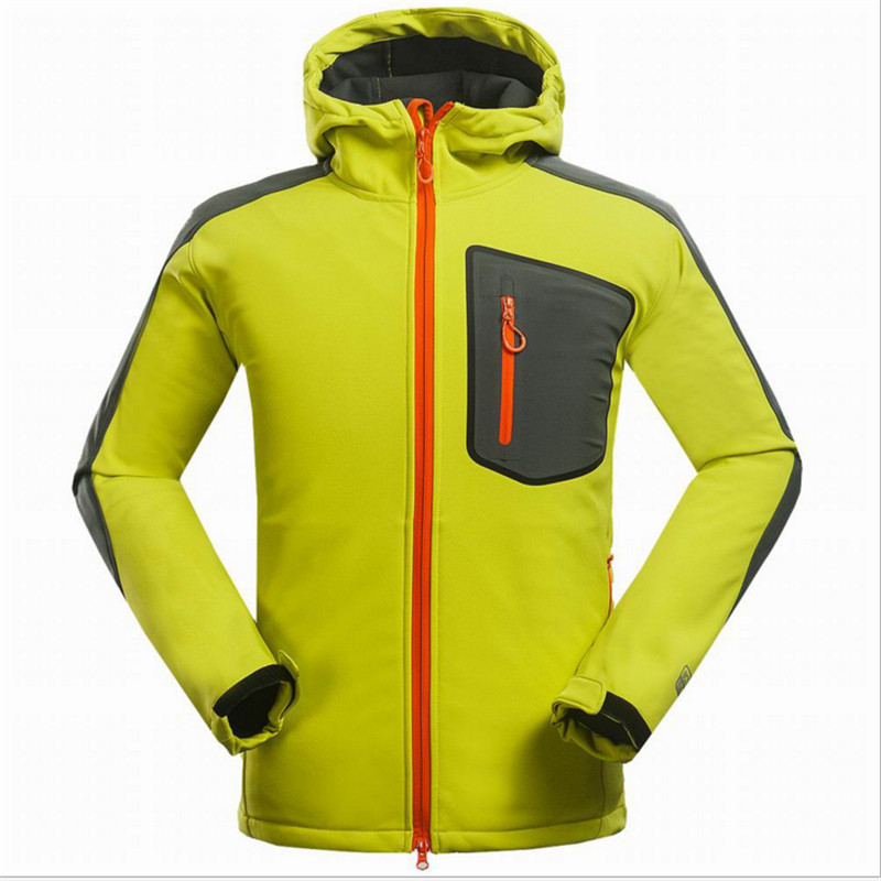 Man Outdoor Camping Mountaineering Sports Ski-Wear, Composite Pile Soft Shell, Uv Protection, Radiation Big Yards Jacket