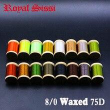 Kraliyet Sissi 15 renk küçük ahşap makaralı uç bağlama ipi 8/0 son derece mumlu 210yds/makara 75Denir hibrid filamentler bağlama ipi