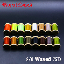 Royal Sissi 15 colori piccolo legno spooled fly legare filo 8/0 altamente cerato 210yds/bobina 75Denir filato ibrido legare filo