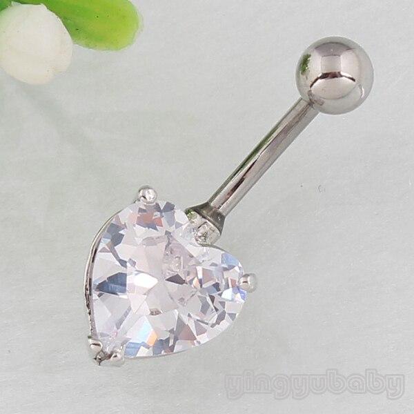 edca94e85b14 Envío libre al por menor del anillo del ZIRCON del corazón del anillo del  ombligo body piercing joyería de moda 14g 316L Acero quirúrgico -libre