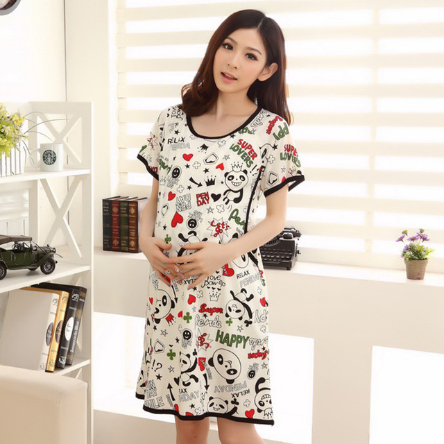 269b8fba6f Summer Cartoon Pyjama Panda Breastfeeding Nightwear Maternity Dress Nursing  Clothes Sleepwear For Pregnant Women Pajamas
