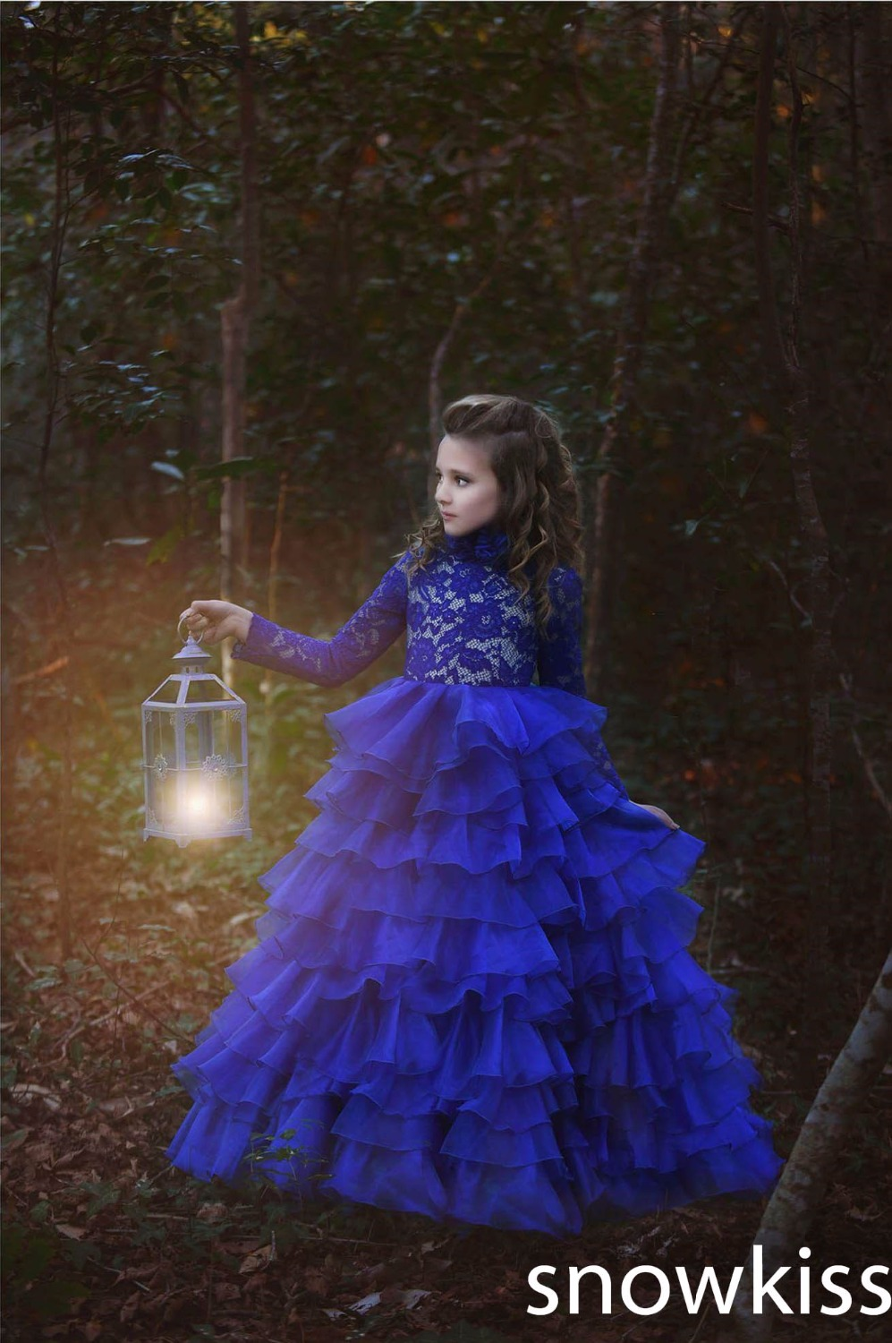 Custom long blue lace full sleeves flower girl dresses beautiful tiered first communion kids pageant glitz prom ball gowns
