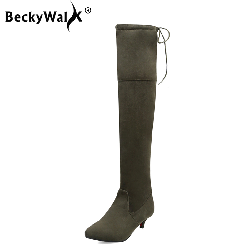 BeckyWalk 2018 Ladies Shoes Low Heel Over The Knee Boots Women Pointed Toe Tight High Boots Autumn Winter bota feminina WSH3032 цена 2017