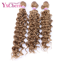 Deep Wave Curly Bundles Synthetic Hair Extension For Women 16 18 20 Inches Blonde 613 Synthetic Weave Ombre Hair Bundles