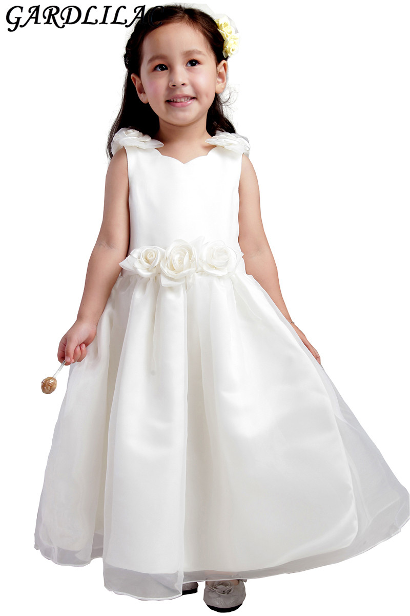 2017 real picture white ball gown flower girl dress for wedding ...