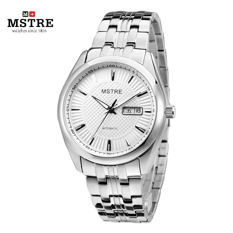 2015 New Brand MSTRE Auto Mechanical Wrist Watch Mens Luxury Silver Rose Gold Business Watch Classic 316L Stainless Steel Watch
