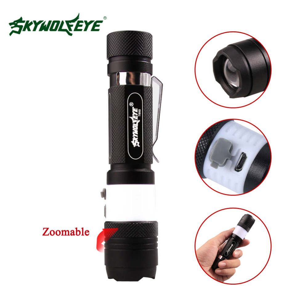 SKYWOLFEYE powerful led flashlight 6 Mode T6 3800LM Tactical Torch zoom Focus Rechargeable Nightlight by 18650 battery+USB Cable-in LED ...