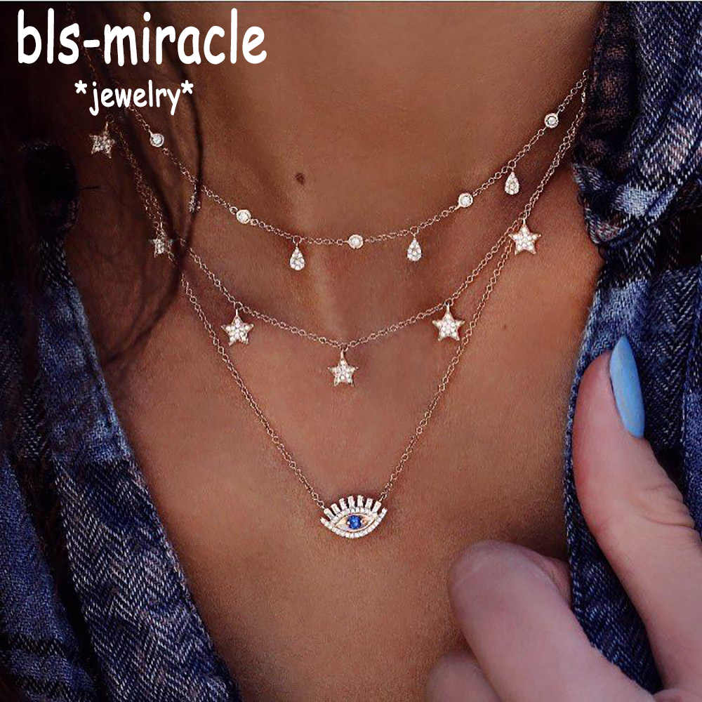 Bls-miracle Multilayer Necklace for Women Long Chain Turkish Eye Pendant Necklaces Trendy Crystal Star Water droplets Necklaces