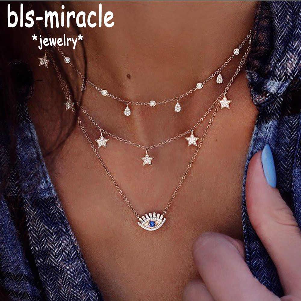 Bls-miracle สร้อยคอสำหรับผู้หญิงยาวตุรกีตาจี้สร้อยคอคริสตัลดาวหยดน้ำสร้อยคอ