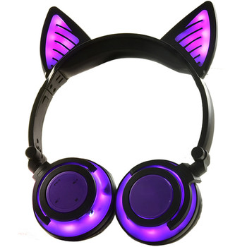 Bluetooth Kids Headphones Wireless Headset Folding Stereo Earphone Over-ear Headband LED Light Up 3.5mm Jack Cable CBW-Purple 1