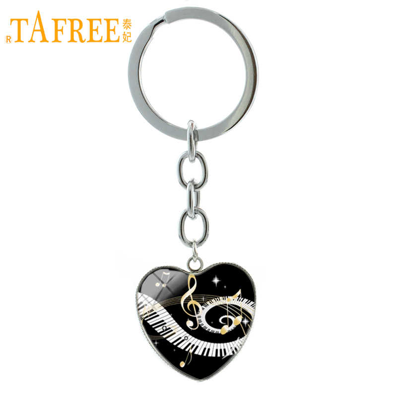 TAFREE Vintage Piano keys golden music notes key chain ring classic grand piano keyboard keychain musician lover jewelry HP323