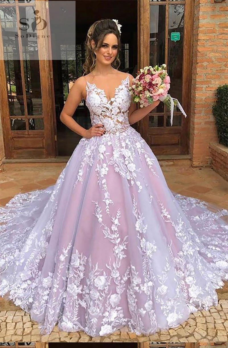 Spaghetti Straps Wedding Dress Vestidos de novia 2019 3 D Flowers Bridal Gown V-Neck Sexy Romantic Floor Length Ball Gowns