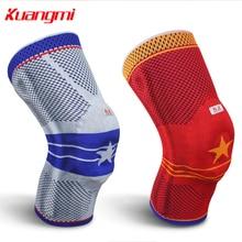 лучшая цена KUANGMI Sports Breathable High Elastic Knee Pads Leg Strap Brace Pad Guard Knee Protector Pads Support Kneepad Gray KM3320
