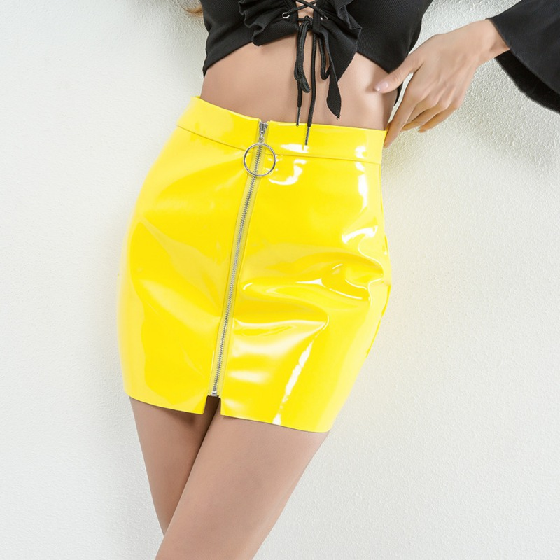 444a08ca1 Red White Black Low Waist Pencil Skirt 2018 New Front Zipper Mini Skirts  Women Sexy Hip Package Bandage PU Leather Skirt F3 | Ladies Mall