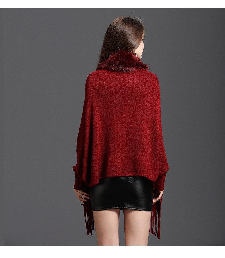 Faux Fur Collar Shawl Cardigan Tassel Winter Warm Coat 66