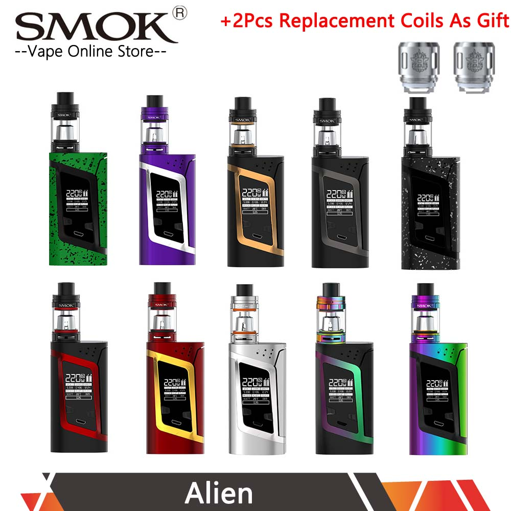 Authentic SMOK Alien 220W Kit Smok Alien TC Box Mod with 3ML TFV8 Baby Tank V8 Baby-T8 V8 Baby-Q2 coil head VS SMOK AL85 Kit купить недорого в Москве