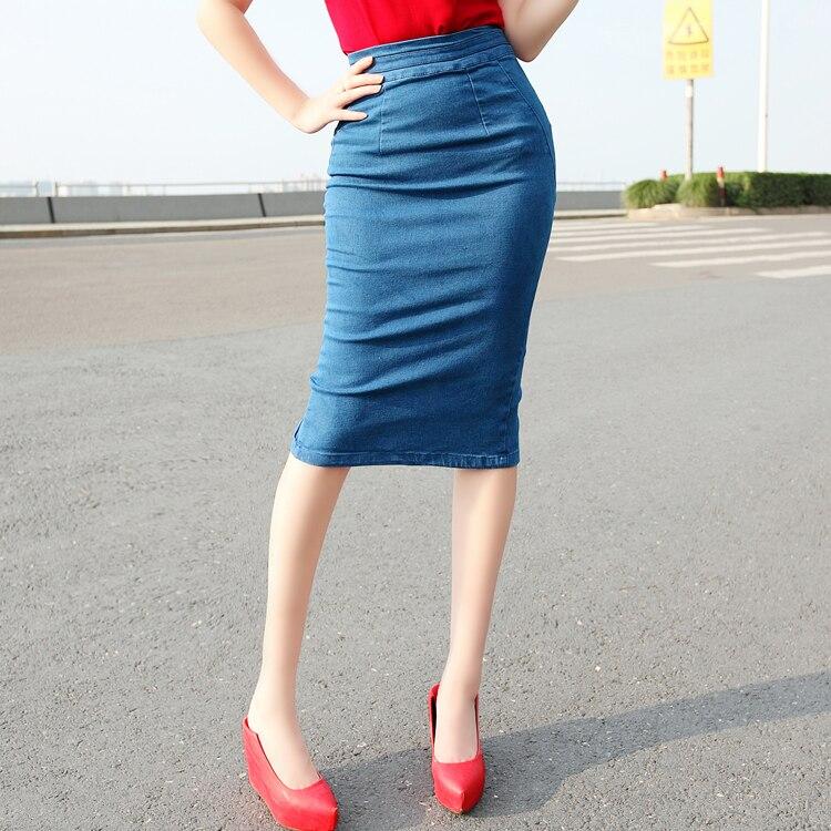 denim pencil skirt bodycon high waist slit knee length