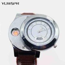 Homens relógio moda Relógios de Quartzo com Recarregável USB isqueiro Chama Isqueiro Presentes femininos Casuais F668