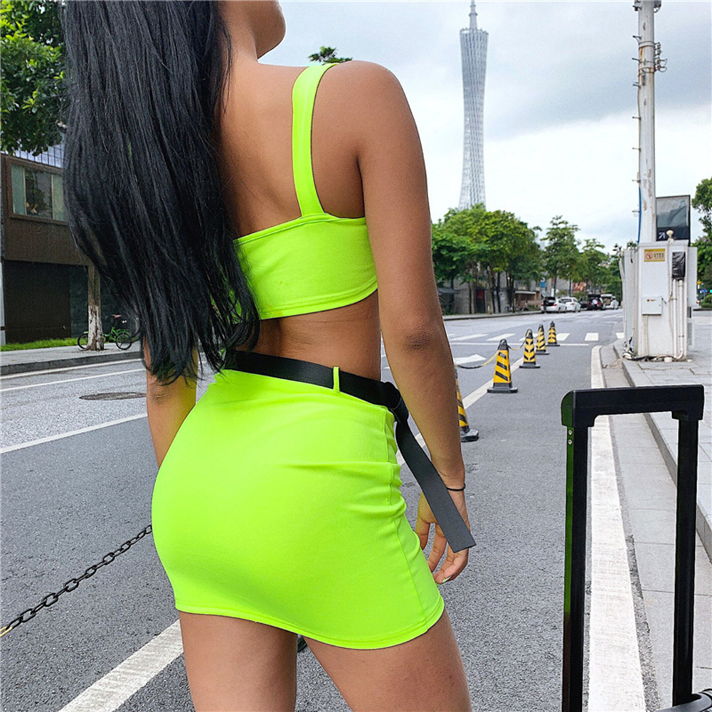 Women Summer Skirts 2 Pieces Set Fashion Neon Green Casual Sets With Belt Crop Top Square Collar Skirts 2 PCS Hip Hop Street Hot in Women 39 s Sets from Women 39 s Clothing