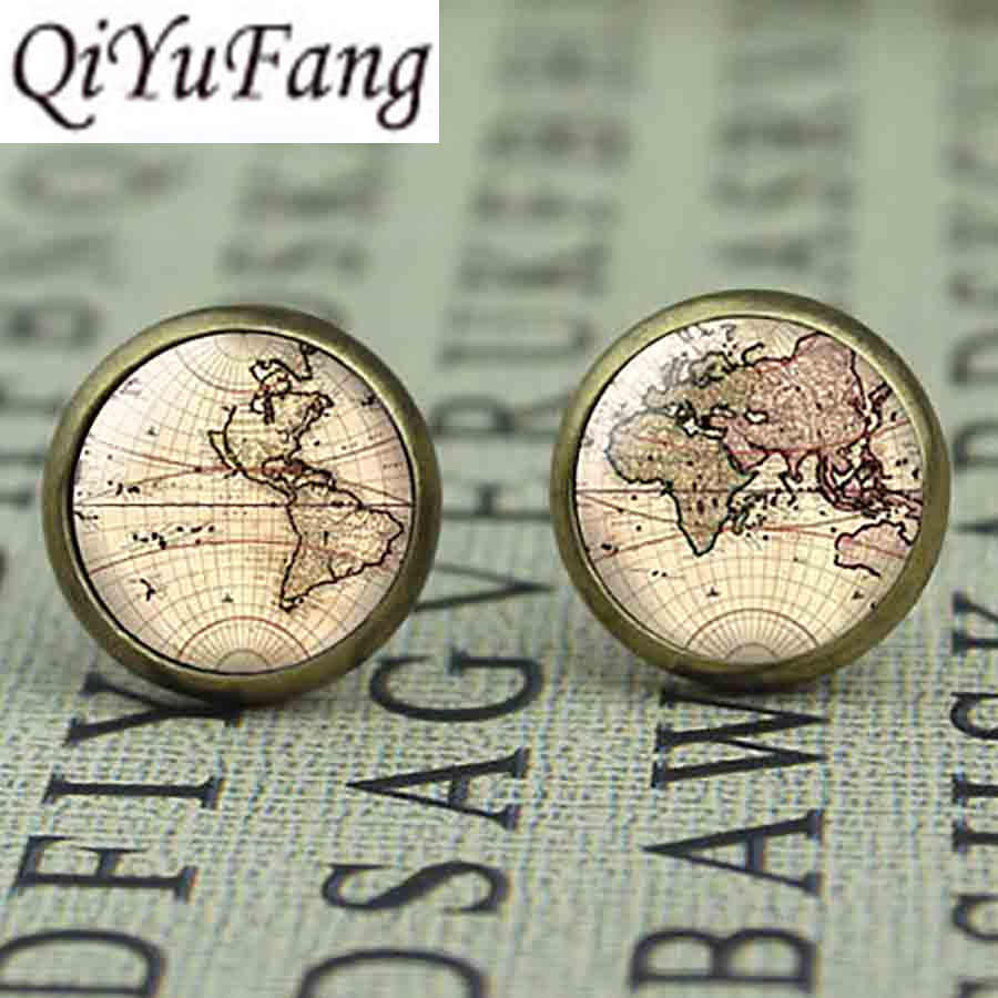 New US Movie Map Brass Post Mens Womens Glass Punk Jewelry Stud earth world Map 1pair/lot The arrow vintage earrings steampunk