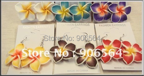 multiple color Hawaiian Plumeria flower Frangipani Flower earrings/fashion earrings/nice jewelry,free shipping