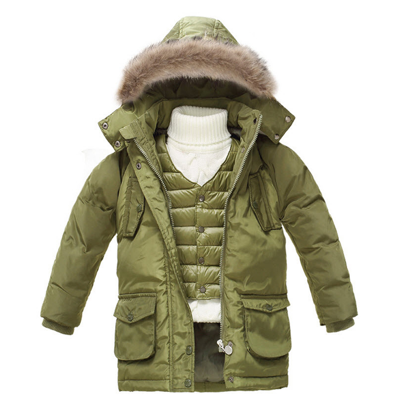 ФОТО Kids Boys Girls Down Jackets Coats 2016 New Winter Clothing Coats Vest Jackets 2Pcs Set Ski Suit Hoody Long Down Jackets GC42