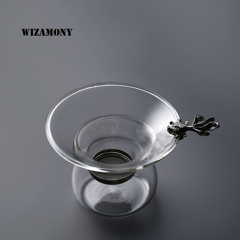 WIZAMONY 1PCS Golden Fish Silver Fisk Typ Te Filter Kongfu Tea - Kök, matsal och bar