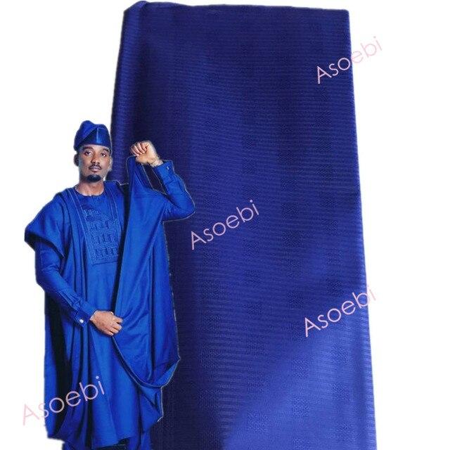 Aqua/Cielo Blu/Beige Africano Atiku Tessuto di Cotone Morbido Cotone Atiku Materiale Prezzo di Promozione Per La Fabbricazione Degli Uomini Indumento 5 metri 30