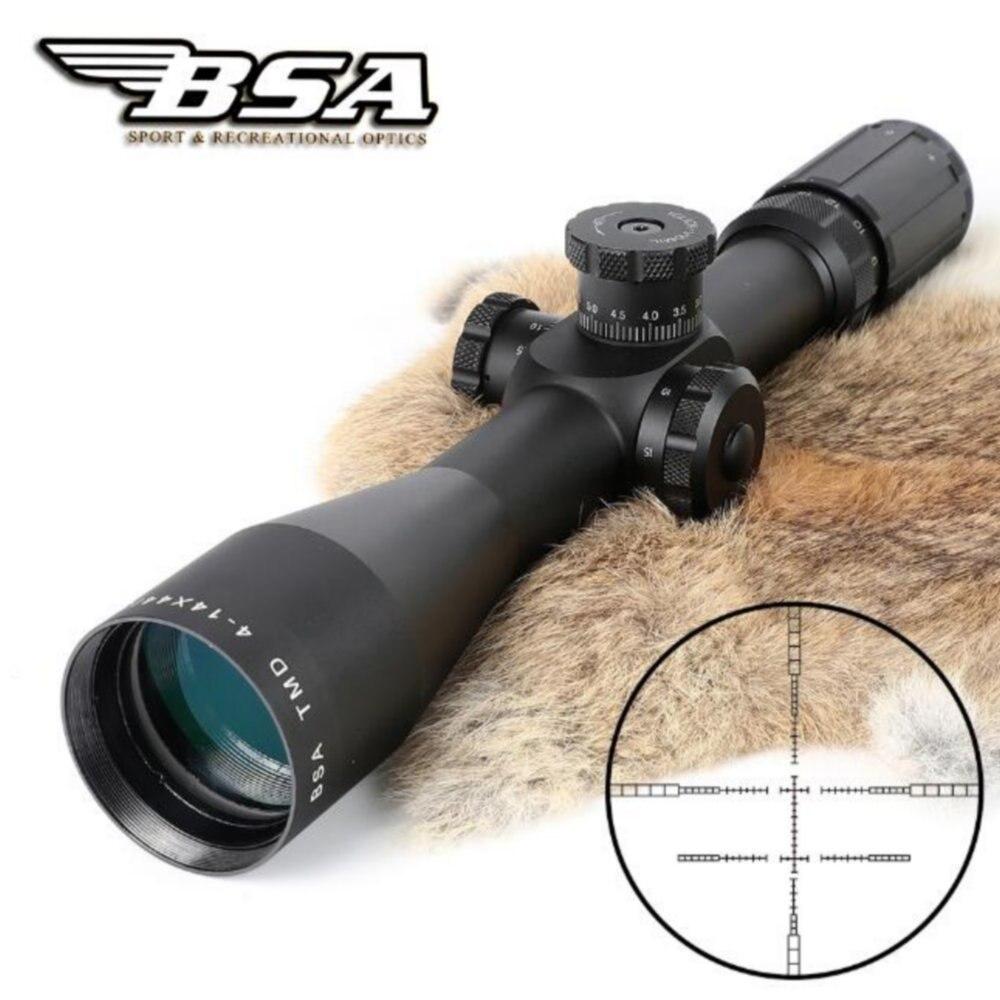 Tactique Original BSA TMD 4-14X44 premier plan Focal portée de fusil MIL-MIL avec lunette de chasse à tourelle de verrouillage