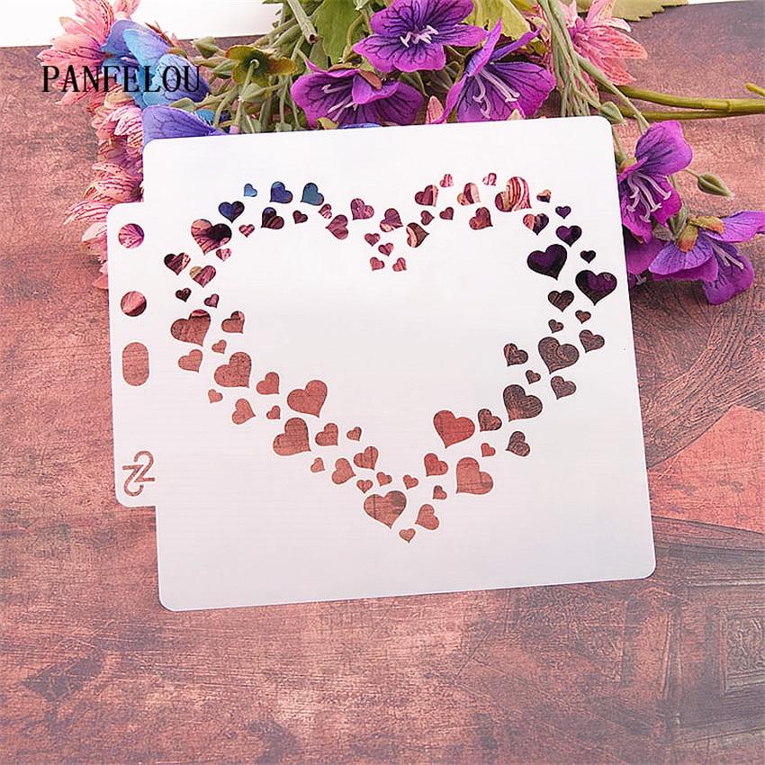 Heart-shaped Wreath Scrapbook Stencils Spray Plastic Mold Shield DIY Cake Hollow Embellishment Printing Lace Ruler Valentine