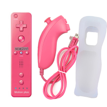 2 in 1 Wireless GamePad Remote Controller built in Motion Plus with Nunchuck For Nintendo Wii Controller Joystick+Silicone Case