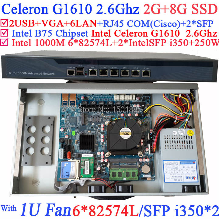 Cheap Intel Celeron G1610 2 6G Firewall ROS Router with 6 1000M 82574L Gigabit Nic 2