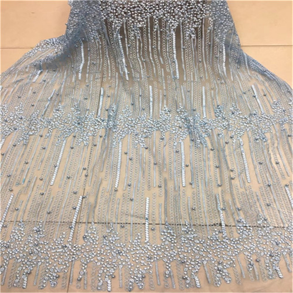 African Lace Fabric 2018 High Quality Lace Blue Bridal Lace Fabric With Beaded Nigerian Tulle Mesh