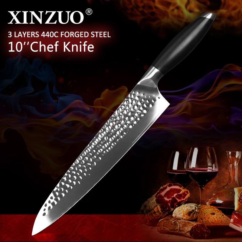 XINZUO 10 Chef Kitchen Knives Stainless Steel 3 Layer 440C Core Clad Steel High Quality Vegetable