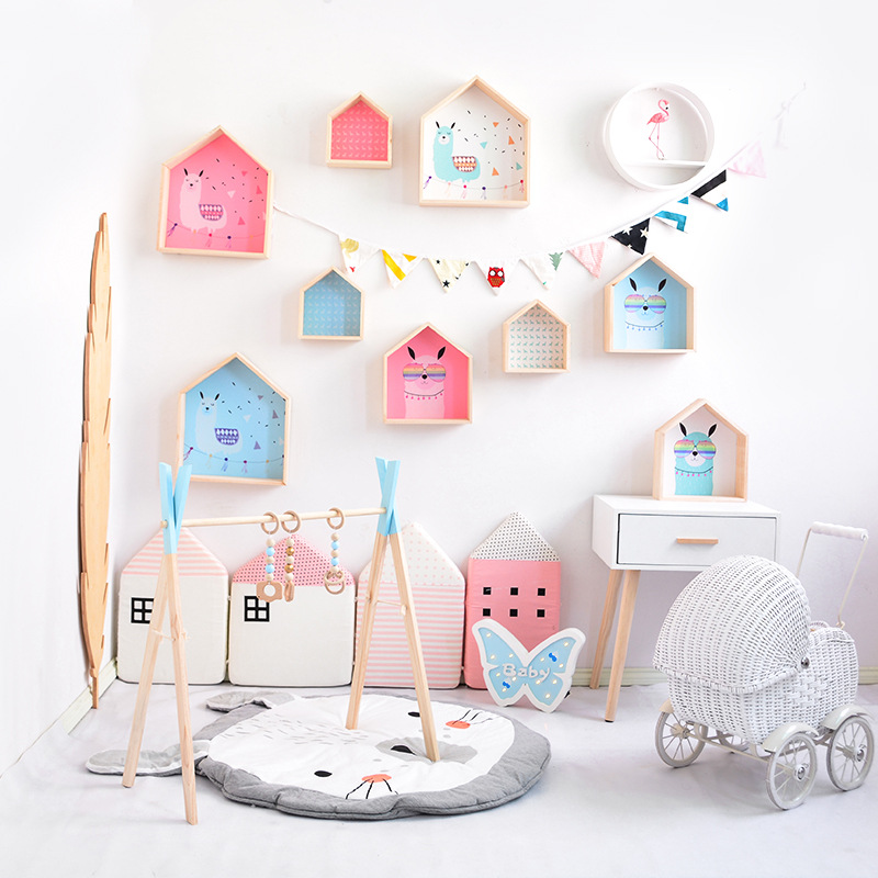 Nordic Wooden Storage Rack Box House Shaped Decorative Wall Hanging Shelf For Kids Bedroom Living Room Storage Holders Organizer