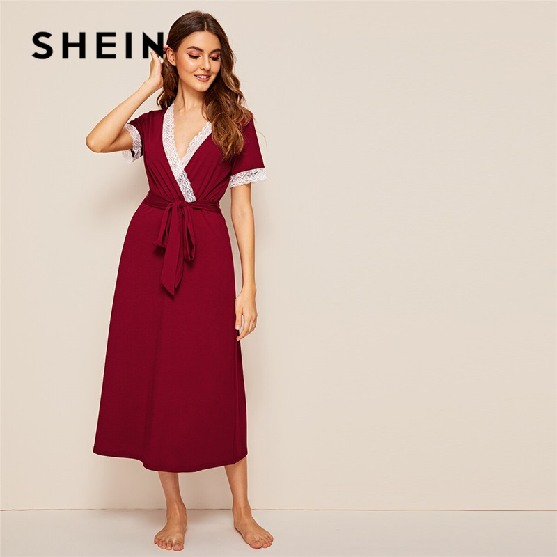 SHEIN Contrast Lace Surplice Neck Belted Night Dress Burgundy Short Sleeve Deep V Neck Sexy Nightwear Ladies Summer Lingerie