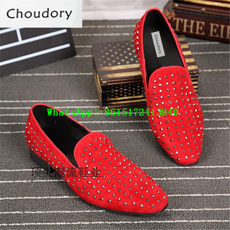Choudory Red Spring Autumn Breathable Men Shoes Casual Rivet Low Heels Wedding Men Loafers Comfortable Fashion Mens Dress Shoes