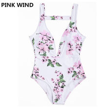 76daff7bc5 PINK WIND 2018 Summer Women s Pink Blossom Floral Printed Deep-V Plunge One  Piece Swimsuit Low Cut Backless Swimwear Monokinis