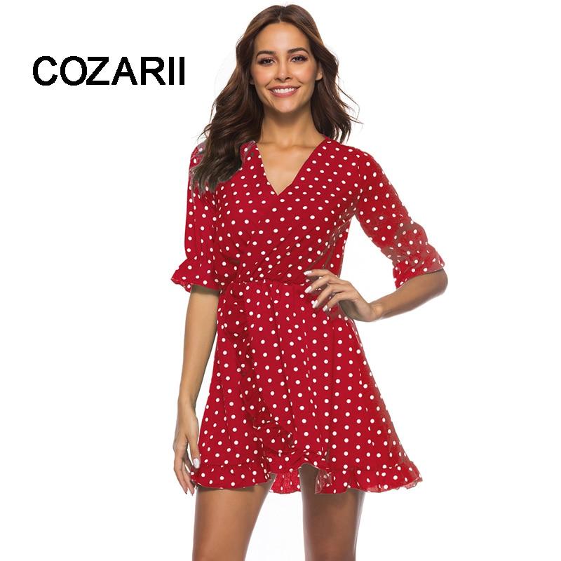 COZARII 2018 New Off Shoulder Ruffle Dot Summer Dress