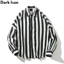 Dark Icon Black White Stripe Loose Shirts Men Long Sleeve 2019 Autumn Retro Style Casual Streetwear Clothes For Man