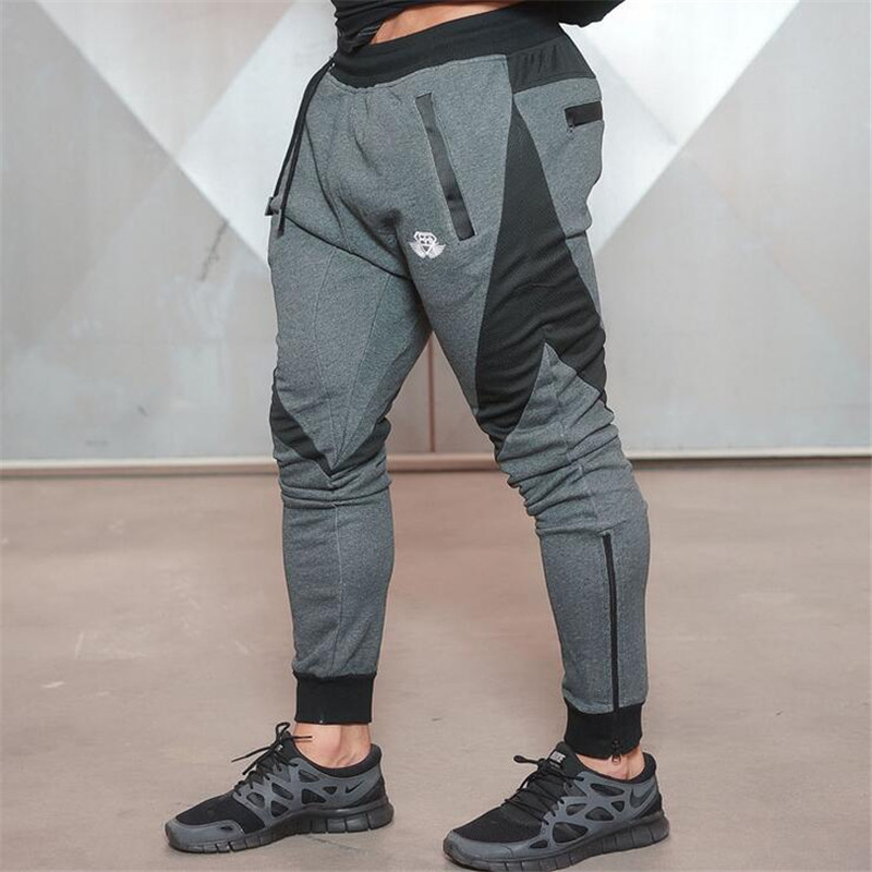 2017 Brand New Gold Medal Fitness Casual Elastic Pants Stretch Cotton Mens Pants The high quality Jogger Bodybuilding Pants