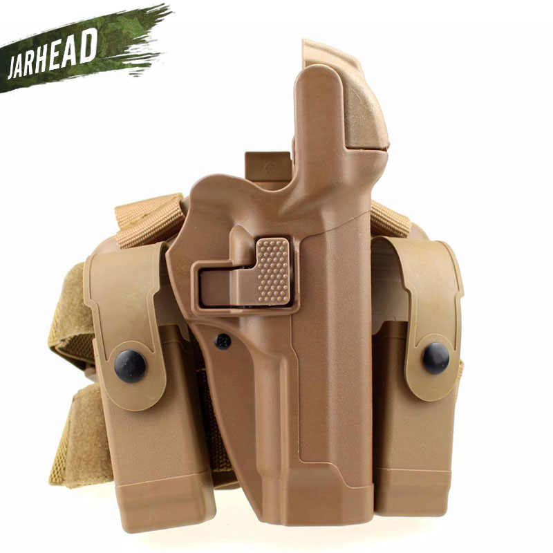 M92 التكتيكية الساق اليمنى الفخذ اليد الحافظة مستوى 3 قفل واجب مسدس بندقية الحافظة ث/مجلة الشعلة الحقيبة ل Beretta M9 M92
