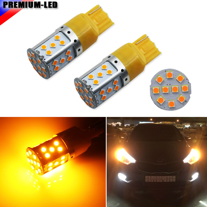 (2) Error Free Amber Yellow 7440 T20 21W LED Bulbs For Car Front or Rear Turn Signal Lights (No Hyper Flash and No Modification) 2 no resistor no hyper flash 21w high power amber bau15s 7507 py21w 1156py led bulbs for car front or rear turn signal lights