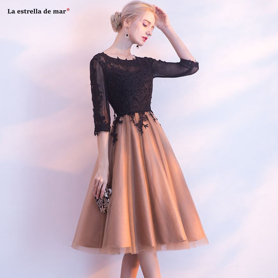 Vestidos mujer 2018   cocktail   new Scoop collar halter lace half sleeve black gold stitching   cocktail     dress   Tea Length prom gown