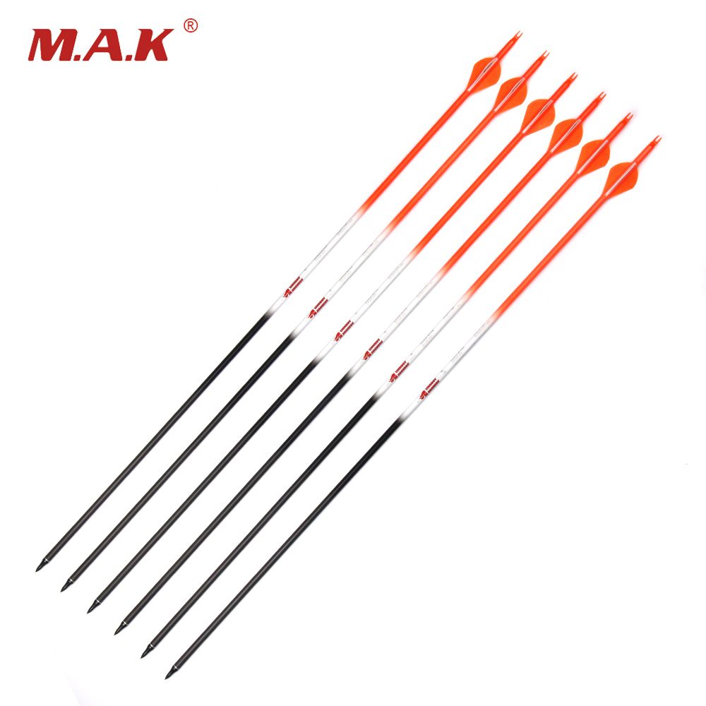 6/12/24pcs 30 Inch Spine 400 Pure carbon Arrow OD 7.6mm ID 6.2 mm with Plastic Arrow feather for Bow Archery Shooting Hunting hunting archery 12 24pc high quality 30 inch carbon arrow blue turkey feather 20 50 lb outdoor sports