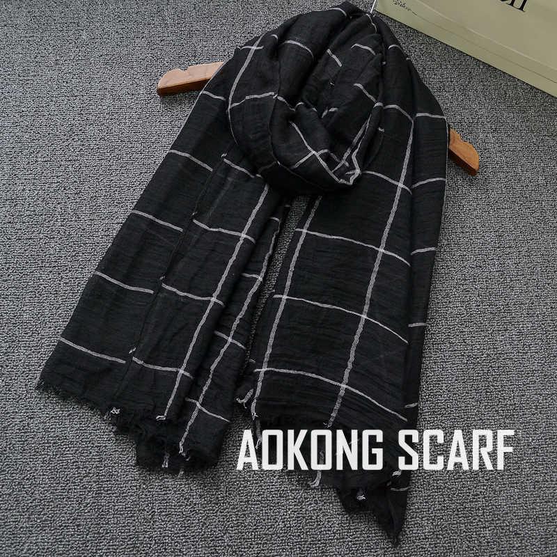 Una pieza hijab negro mujer rejilla hijabs viscosa oversize musulmán bufanda chales moda maxi liso plaid estola