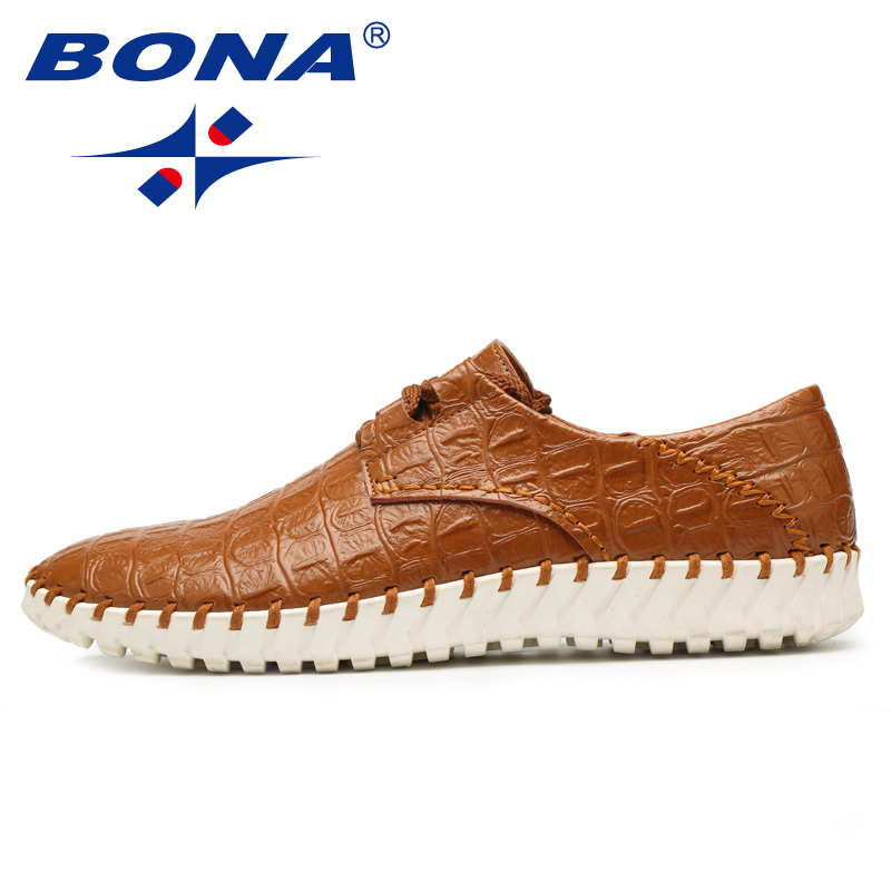 BONA New Fashion Style Men Casual Shoes Hand Made Lace Up Luxury Men Shoes Comfortable Loafers Moccasins Fast Free Shipping cbjsho brand men shoes 2017 new genuine leather moccasins comfortable men loafers luxury men s flats men casual shoes