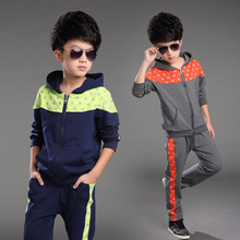 2015 Selling autumn new boy suit,children five-pointed star pattern children's sports suits,hooded jacket+trousers Free Shipping